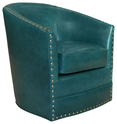 Blue Leather Swivel Chair by Bryn St Clair Peacock Blue Leather Swivel Chair Peacock