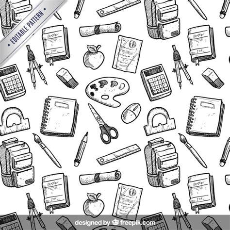 pattern school vector hand drawn school equipment pattern vector premium download
