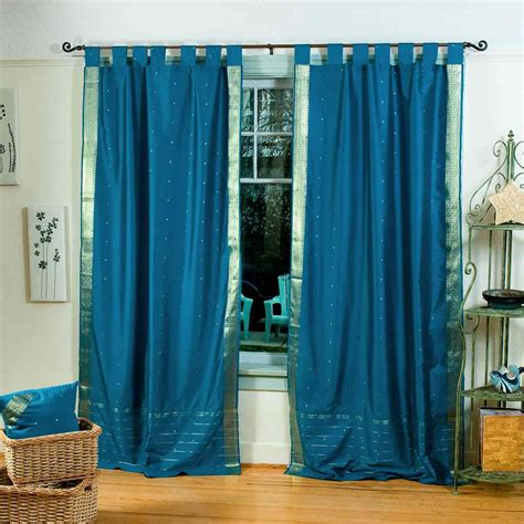turquoise tab top sheer sari curtain drape panel piece