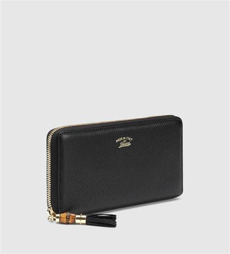 Tassel Zip Wallet lyst gucci bamboo tassel leather zip around wallet in