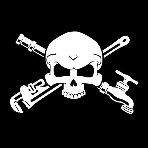 Plumbing Wrenches Faucet Skull Plumber Pipe Wrench Decal Sticker Car Boat Wall