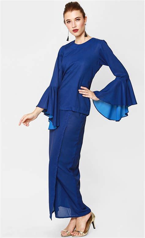 Baju Modern Royal Azalea Baju Kurong Modern In Royal Blue With Turquoise