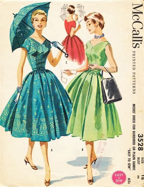 dress pattern finder sewing pattern vintage dress 1950s 50s easy sew full