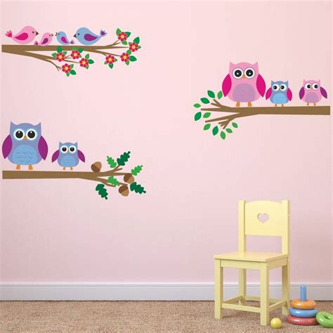 owl bedroom wall stickers owls and birds branch wall stickers by mirrorin