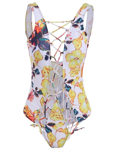 Floral Cutout Swimsuit floral cutout one swimsuit colormix xl in one