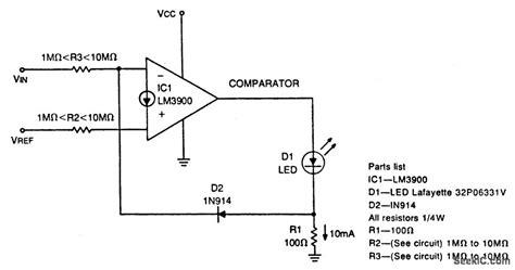 diode comparator circuit diode feedback comparator electrical equipment circuit circuit diagram seekic