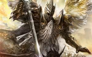 Fantasy horrmor art feather angel wings sword kick armor