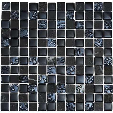 Mosaik Fliesen Schwarz quartz 1 black glass mix mosaic tile sheet