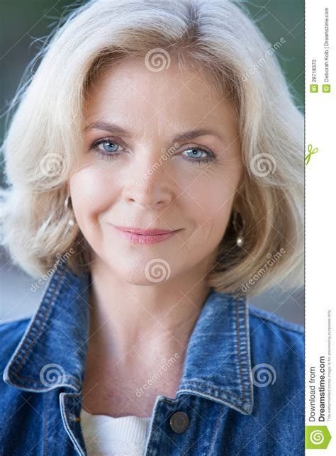 beautiful middle aged woman beautiful blonde middle aged woman stock photo image