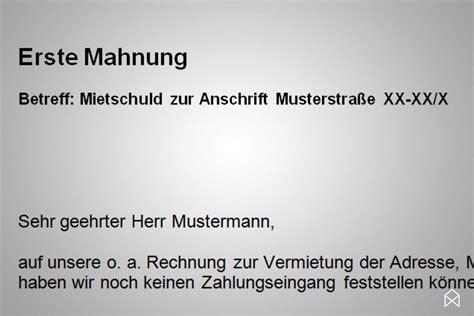 Mahnung Miete Muster Pdf mahnung wohnung vorlage gratis downloaden immoankauf
