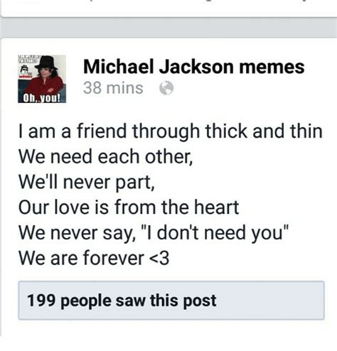 forever friends through thick and thin and the end books 25 best memes about michael jackson meme michael