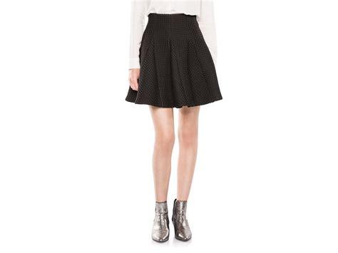 maje jamila waffle knit pleated skirt in black lyst