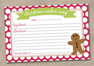 Cookie Exchange Recipe Card Template by Printable Cookie Exchange Recipe By