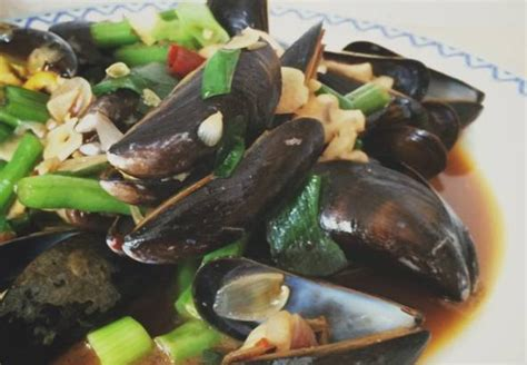 resep kerang hijau buncis saus tiram pedas