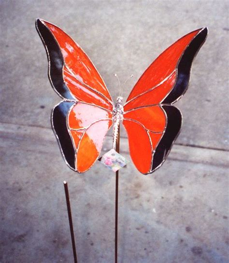 projects butterfly garden stake 117 best stained glass garden stakes images on pinterest
