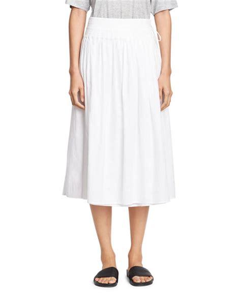 vince stitch pleated wrap midi skirt white