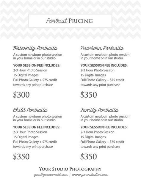 Portrait Photography Pricing by Price List Photoshop And Photography Portraits On