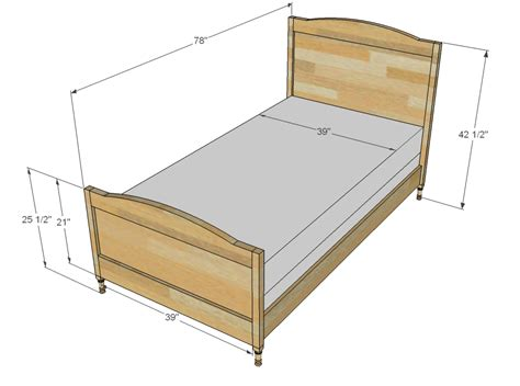 dimensions of twin bed ana white chelsea twin bed or bottom bunk diy projects