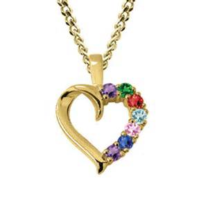 Personalized birthstone heart mother s pendant in 10k gold 3 7 stones