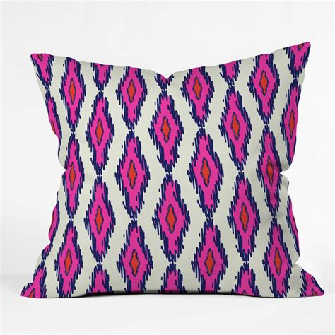 Pink And Navy Throw Pillows Holli Zollinger Ikat Pink And Navy Throw From Deny Designs