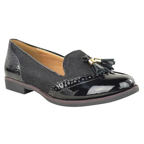 flat loafers womens womens flat tassel loafers brogues shoes tartan