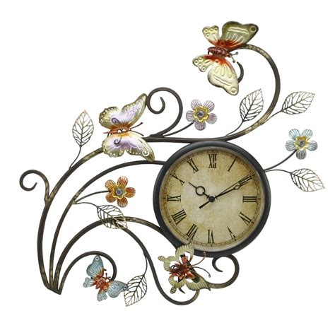 wall clock art butterfly wall clock contemporary metal wall art with clock