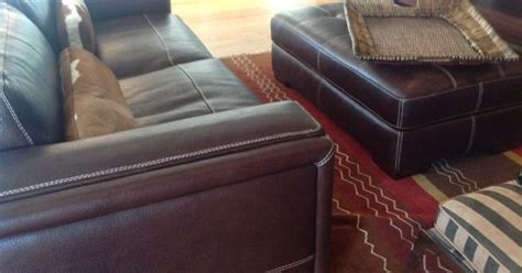 Matching Rug And Cushions by Stitched Thick Leather Hide With Seat And