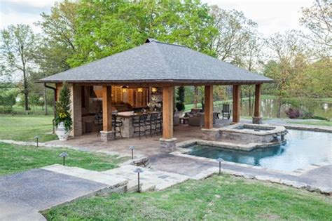backyard pool house rustic mississippi pool house landscaping network