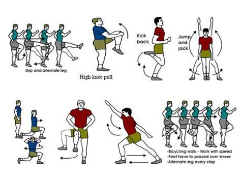 diagram of stretches the diagram shows a number of warm up exercise and
