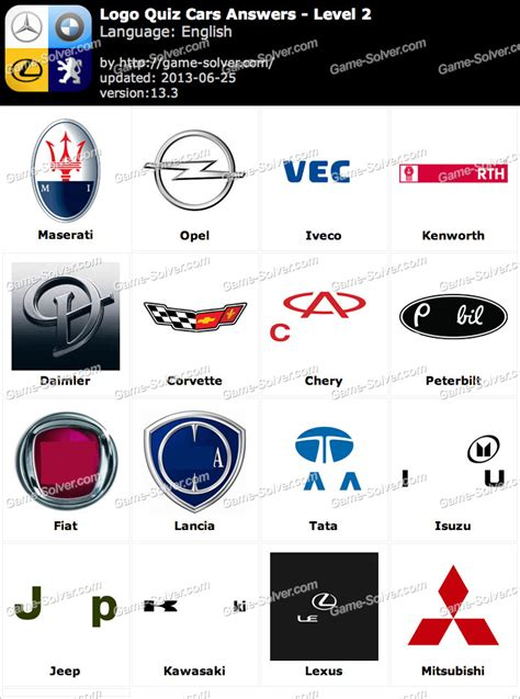 logo quiz cars answers level  game solver