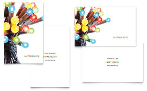 christmas lights greeting card template word publisher