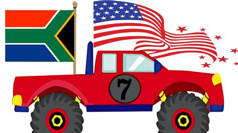 childrens monster truck videos monster truck stunts learn country flags for kids