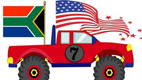 monster truck videos for kids monster truck stunts learn country flags for kids