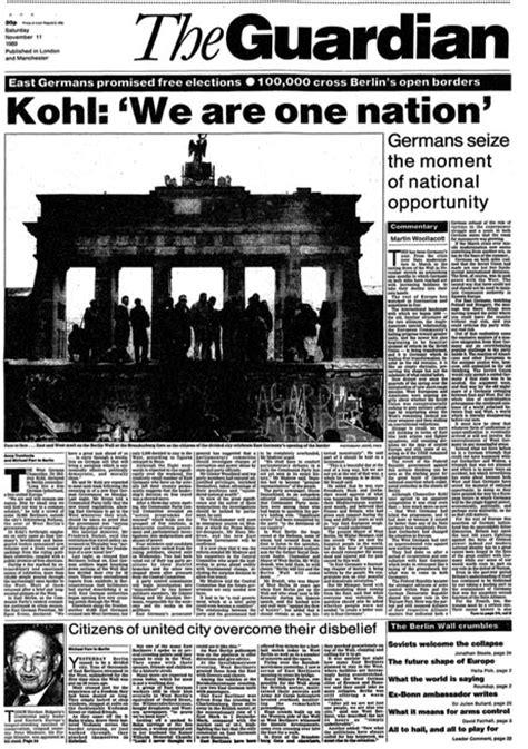 berlin wall newspaper fall of the berlin wall 20th anniversary celebrations