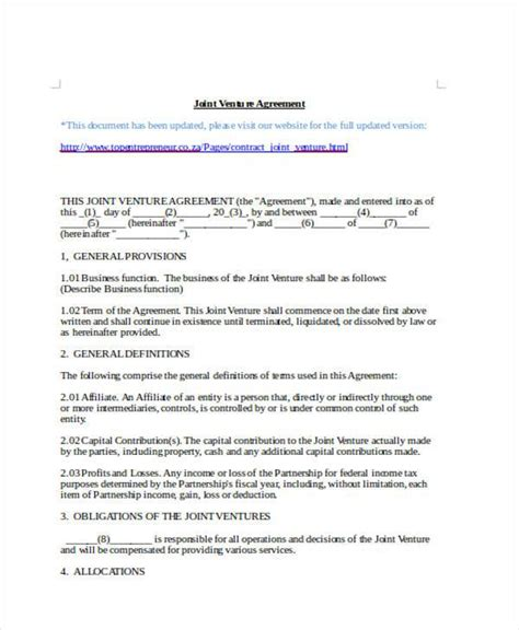Sle Joint Venture Agreement Forms 8 Free Documents In Word Pdf 8a Joint Venture Agreement Template