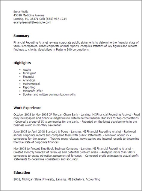 Cover Letter For A Reporting Analyst by Financial Reporting Analyst Resume Template Best Design