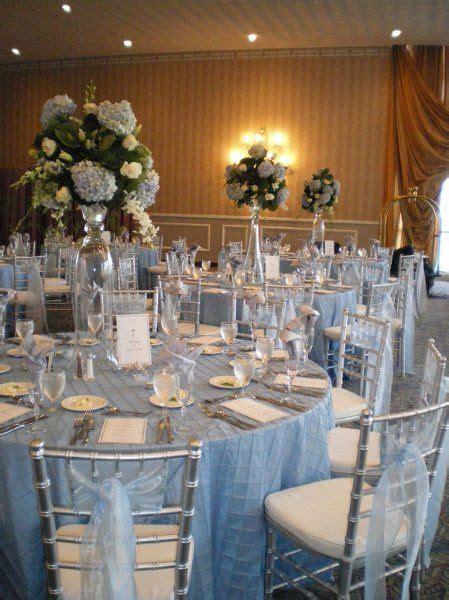 light blue wedding theme  light blue table linens, blue