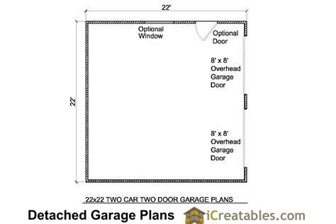garage door floor plan 22x22 2 car 2 door detached garage plans