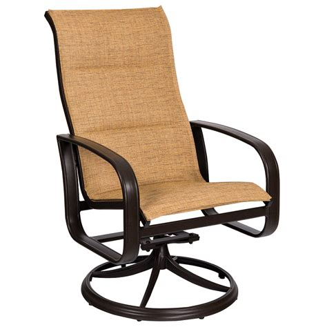 Woodard Cayman Isle Padded Sling High Back Swivel Rocker Sling Swivel Rocker Patio Chairs