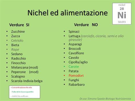 alimenti nichel allergia al nichel ed alimentazione