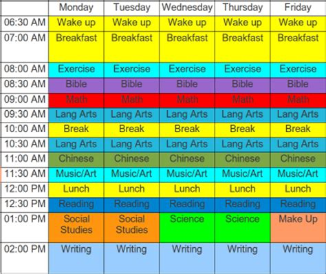 Primary School Timetable Template