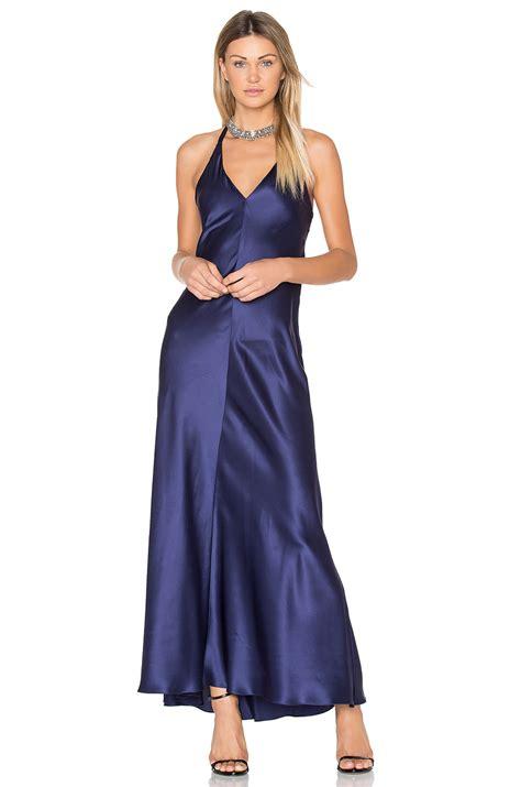 it satin navy maxi dress