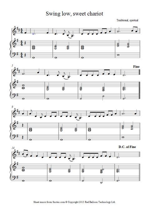 french swing music swing low sweet chariot sheet music for french horn