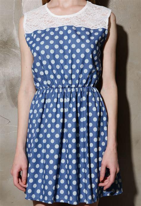 Lace Polka Denim Shirt storets polka dot denim and lace dress kstylick korean fashion k pop styles