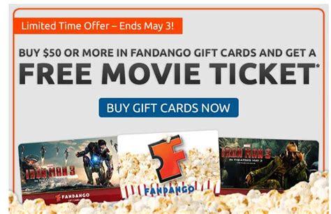 Buy Movie Tickets Fandango Gift Card - free fandango movie ticket with 50 gift card purchase