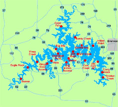 table rock lake map maps branson mo