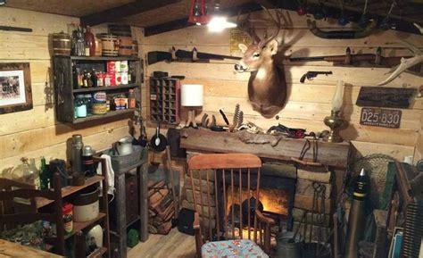 basement storage room transformed  cabin man cave