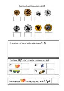 money worksheets ks1 coin recognition change and problem