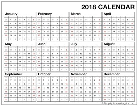 yearly 2018 calendar template printable yearly calendar template