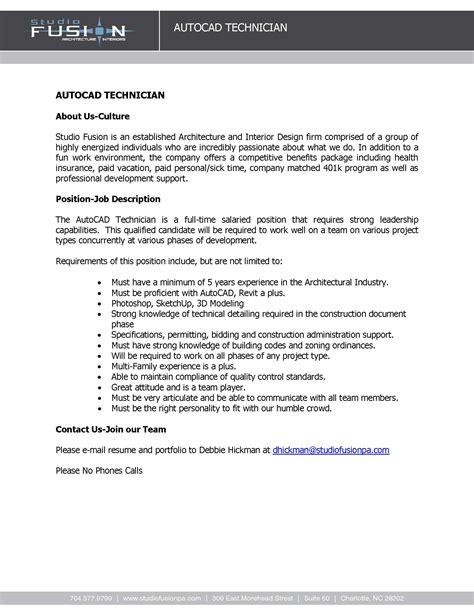 Auto Service Technician Resume Sle by Autocad Designer Description 28 Images Cad Design